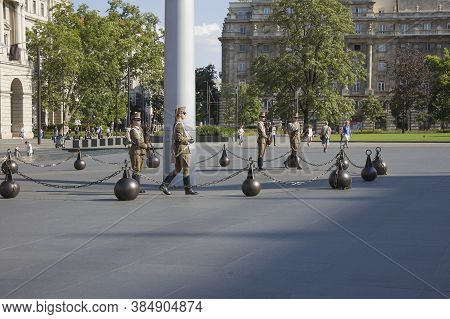 Budapest, Hungary - July 18, 2016: Changing Of The Military Guard At The Parliament Building In Buda