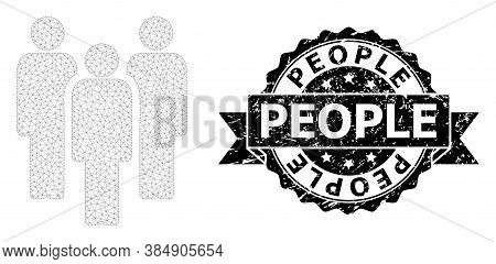 People Dirty Seal Print And Vector People Mesh Model. Black Stamp Seal Includes People Title Inside