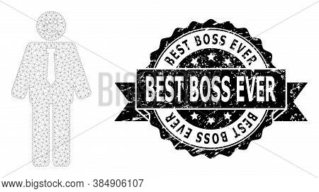 Best Boss Ever Corroded Stamp Seal And Vector Happy Boss Mesh Model. Black Stamp Seal Has Best Boss