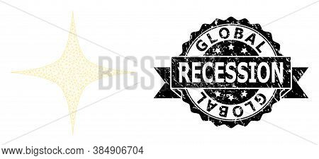 Global Recession Textured Stamp And Vector Space Star Mesh Structure. Black Stamp Includes Global Re