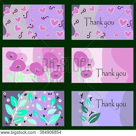 Thank You Card Set In Pastel Colours With Hearts And Leaves Pattern Abstract Illustration. Beautiful