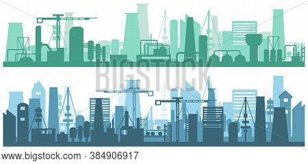 Manufacturing Industrial Plant, Factory Silhouette, Building Of Enterprise Scene, Manufacture Indust