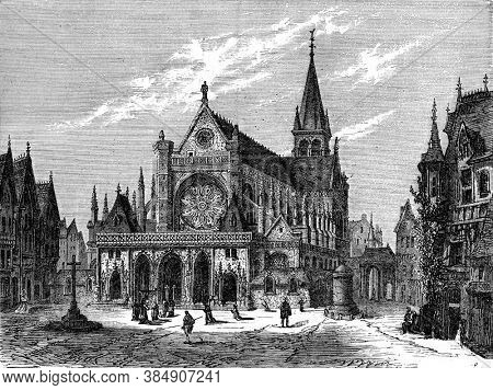 The Church of Saint-Germain-l'Auxerrois, Vintage engraving. From Popular France, 1869.