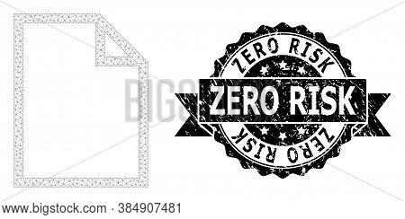 Zero Risk Rubber Seal And Vector Paper Page Mesh Structure. Black Stamp Seal Includes Zero Risk Capt