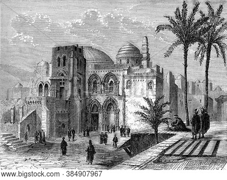 Church of the Holy Sepulchre, Vintage engraving. From Popular France, 1869.