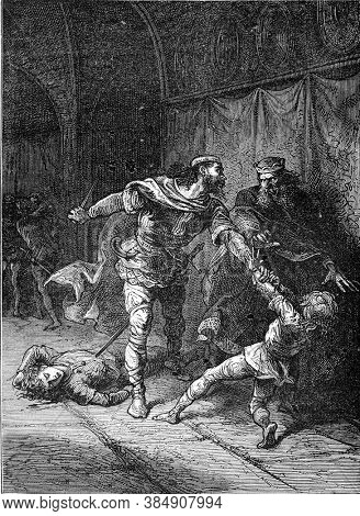 Murder of the children of Clodomir, Vintage engraving. From Popular France, 1869.