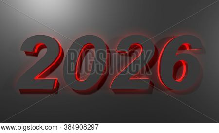 2026 Black Write On Black Surface With Red Backlight - 3d Rendering Illustration