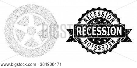 Recession Unclean Stamp Seal And Vector Tire Wheel Mesh Model. Black Seal Has Recession Caption Insi