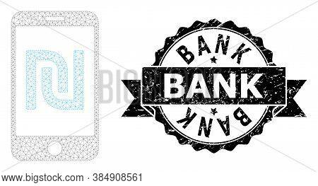 Bank Corroded Seal Print And Vector Shekel Mobile Bank Mesh Model. Black Stamp Seal Has Bank Tag Ins