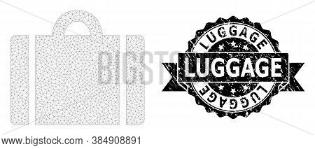 Luggage Rubber Seal Imitation And Vector Luggage Mesh Model. Black Seal Has Luggage Title Inside Rib