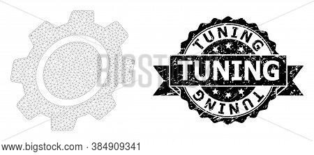 Tuning Grunge Seal And Vector Gear Mesh Structure. Black Stamp Seal Has Tuning Text Inside Ribbon An