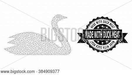Made With Duck Meat Rubber Stamp Seal And Vector Goose Mesh Structure. Black Seal Contains Made With