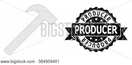 Producer Rubber Watermark And Vector Hammer Tool Mesh Model. Black Seal Has Producer Text Inside Rib