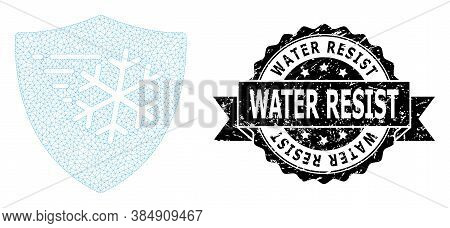 Water Resist Rubber Stamp Seal And Vector Frost Protection Mesh Structure. Black Stamp Seal Includes