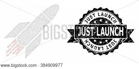 Just Launch Unclean Seal And Vector Rocket Mesh Model. Black Seal Contains Just Launch Caption Insid