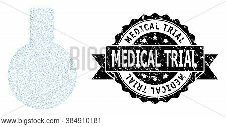 Medical Trial Unclean Stamp And Vector Glass Flask Mesh Structure. Black Seal Contains Medical Trial