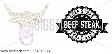Beef Steak Rubber Seal And Vector Bull Head Mesh Model. Black Seal Includes Beef Steak Caption Insid