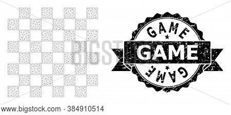 Game Unclean Seal And Vector Chess Board Mesh Model. Black Stamp Seal Includes Game Tag Inside Ribbo