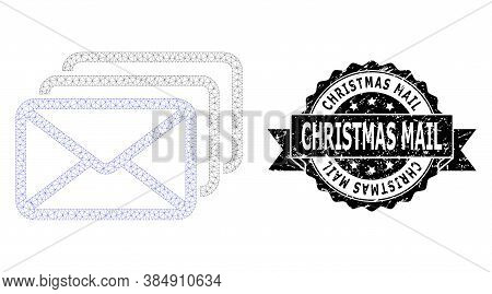 Christmas Mail Unclean Seal Imitation And Vector Mail Queue Mesh Model. Black Stamp Seal Includes Ch