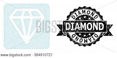 Diamond Grunge Seal Print And Vector Diamond Mesh Structure. Black Stamp Seal Includes Diamond Tag I