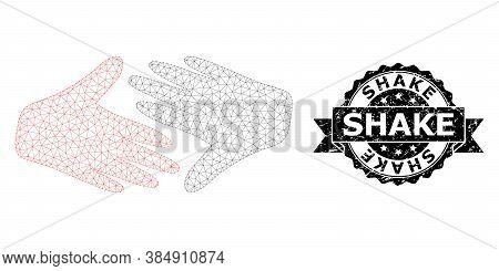 Shake Corroded Seal Imitation And Vector Fair Trade Handshake Mesh Structure. Black Stamp Seal Inclu