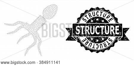 Structure Textured Seal Print And Vector Virus Structure Mesh Structure. Black Stamp Seal Contains S