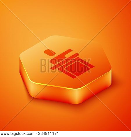 Isometric Speaker Icon Isolated On Orange Background. Orator Speaking From Tribune. Public Speech. P
