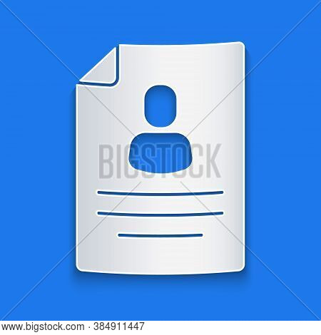 Paper Cut Resume Icon Isolated On Blue Background. Cv Application. Searching Professional Staff. Ana
