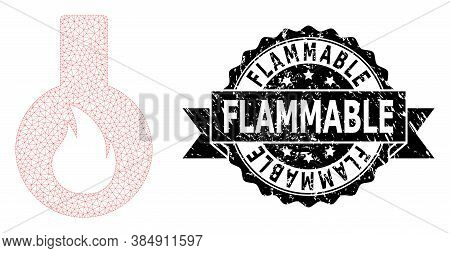 Flammable Rubber Stamp Seal And Vector Flammable Flask Mesh Model. Black Stamp Seal Includes Flammab