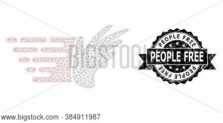People Free Scratched Stamp Seal And Vector Hand Mesh Structure. Black Seal Includes People Free Cap