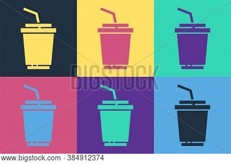 Pop Art Paper Glass With Drinking Straw And Water Icon Isolated On Color Background. Soda Drink Glas