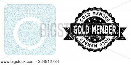 Gold Member Grunge Stamp Seal And Vector Gem Ring Mesh Model. Black Stamp Seal Contains Gold Member