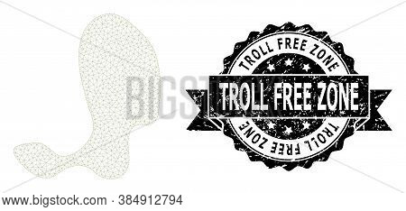 Troll Free Zone Scratched Stamp Seal And Vector Spot Mesh Structure. Black Stamp Seal Includes Troll