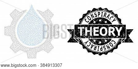 Conspiracy Theory Dirty Stamp And Vector Water Gear Service Mesh Structure. Black Stamp Seal Has Con