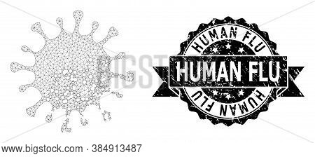 Human Flu Corroded Stamp Seal And Vector Damaged Microbe Mesh Model. Black Seal Has Human Flu Title