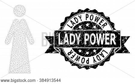 Lady Power Textured Stamp And Vector Lady Mesh Structure. Black Stamp Seal Includes Lady Power Title