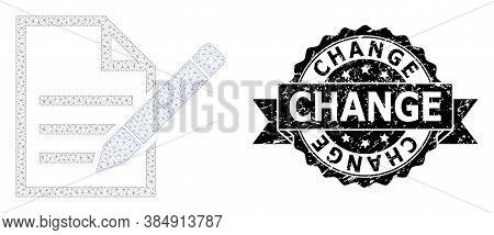 Change Rubber Stamp And Vector Edit Text Page Mesh Structure. Black Stamp Seal Contains Change Title