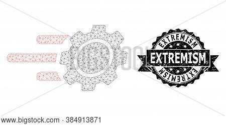 Extremism Textured Seal Imitation And Vector Rush Gear Mesh Model. Black Stamp Includes Extremism Te