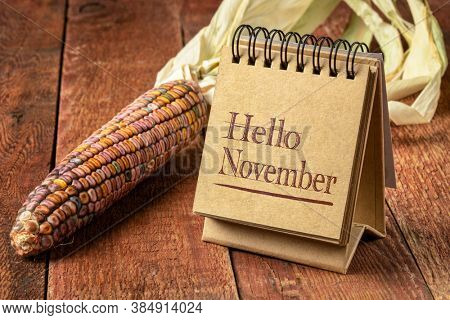 Hello November welcome note  - handwriting in a spiral sketchbook on a rustic wooden table with ornamental corn, season and calendar concept
