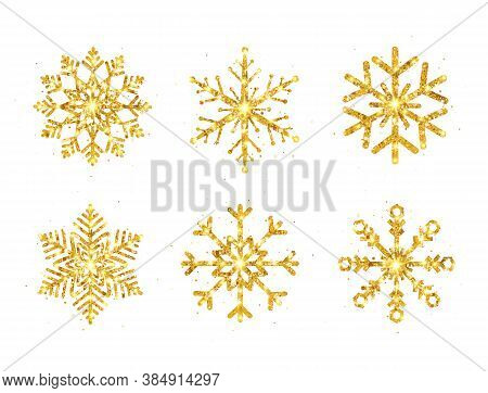 Gold Glitter Snowflakes Set On White Background. Shining Snowflake With Sparkles And Star. Christmas