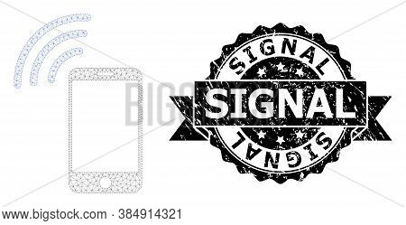 Signal Unclean Stamp Seal And Vector Cellphone Signal Mesh Model. Black Stamp Seal Has Signal Captio