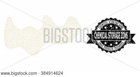 Chemical Storage Zone Scratched Seal Print And Vector Spot Mesh Model. Black Seal Includes Chemical