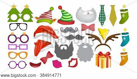 Photo Booth Props And Scrapbooking Vector Set For New Year Party. Christmas Colorful Element Set For