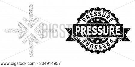 Pressure Rubber Stamp Seal And Vector Collapse Arrows Mesh Structure. Black Stamp Includes Pressure