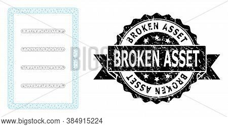 Broken Asset Grunge Seal Print And Vector Text Page Mesh Model. Black Stamp Seal Includes Broken Ass