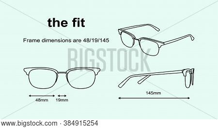 Technical Vector Set Of Black Outlined  Drawing Of Glasses With Dimensions Isolated On Light Blue Ba