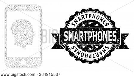 Smartphones Scratched Stamp And Vector Cellphone Profile Mesh Structure. Black Seal Has Smartphones