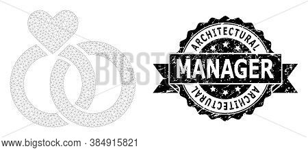 Architectural Manager Scratched Seal Imitation And Vector Wedding Rings Mesh Model. Black Seal Has A