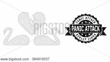 Panic Attack Scratched Seal Print And Vector Divorce Swans Mesh Model. Black Stamp Seal Includes Pan