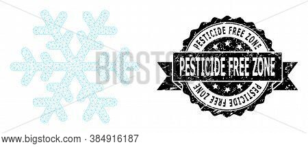 Pesticide Free Zone Dirty Watermark And Vector Snowflake Mesh Model. Black Stamp Seal Has Pesticide